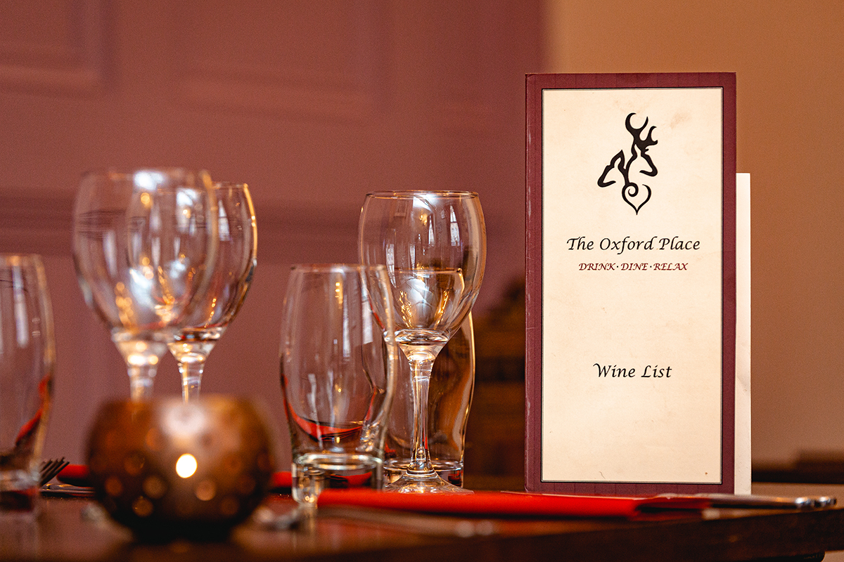Wine list and glasses landscape